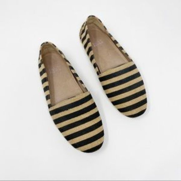 Eileen Fisher Striped Canvas Flats 8.5